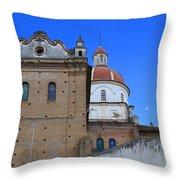 Church Building In Cotacachi Throw Pillow