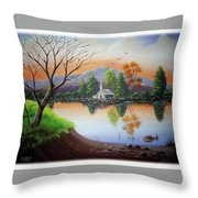 Church By The Lake Throw Pillow