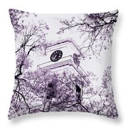 Church Clock In Autumn Throw Pillow
