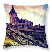 Church Dominant With Decorative Historical Staircase, Graphic Work From Painting. Throw Pillow