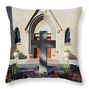 Church Entrance Cross Throw Pillow