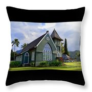 Church In Hanalei Kauai  Throw Pillow