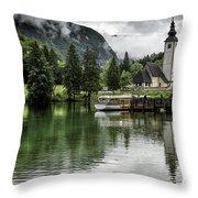 Church In Julian Alps Slovenia Throw Pillow