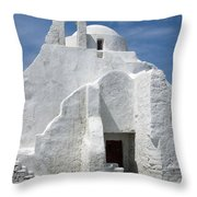 Church In Mykonos Throw Pillow