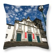 Church In Ribeira Grande Throw Pillow