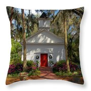 Church In Spring Throw Pillow