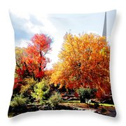Church In The Distance In Autumn Throw Pillow