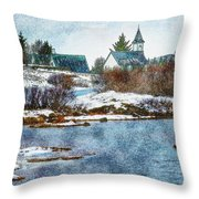 Church In Thingvellir Throw Pillow