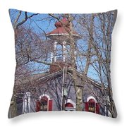 Church In Woods Throw Pillow