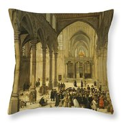 Church Interior With Christ Preaching To A Congregation, 1570 Throw Pillow