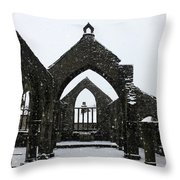 Church Of St Thomas A Becket In Heptonstall In Falling Snow Throw Pillow