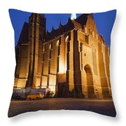 Church Of The Holy Cross By Night In Wroclaw Throw Pillow