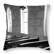 Church Pews Black And White Throw Pillow