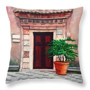 Church Side Door - Taormina Sicily Throw Pillow