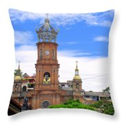 Church Steeples In Puerto Vallarta Throw Pillow