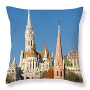 Churches In Budapest Hungary Throw Pillow