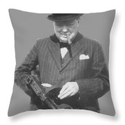 Churchill Posing With A Tommy Gun Throw Pillow