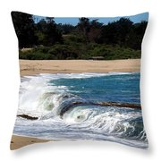 Churning Surf At Monastery Beach Throw Pillow