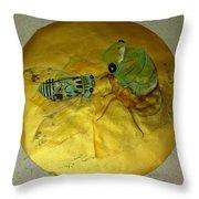 Cicada On Gold Throw Pillow