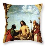 Cima Da Conegliano The Incredulity Of St Thomas With St Magno Vescovo Throw Pillow