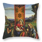 Cima Da Conegliano The Madonna And Child With St John The Baptist And Mary Magdalen Throw Pillow