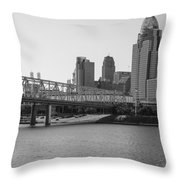 Cincinnati And Bridge Black And White  Throw Pillow