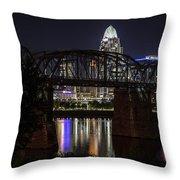 Cincinnati Bridge At Night  Throw Pillow