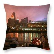 Red Sunset Sky In Cincinnati Ohio Throw Pillow