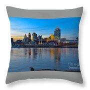 Cincinnati Skyline Across The Ohio River Throw Pillow