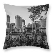 Cincinnati Skyline Through Trees Throw Pillow