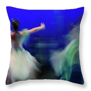 Cinderella And Fairy Godmother Dancing With Green Fairies In Bal Throw Pillow