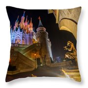 Cinderella And Her Castle Throw Pillow