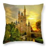 Cinderella Castle - Monet Style Throw Pillow