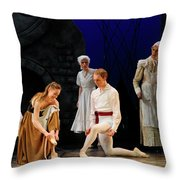 Cinderella Trying On The Other Slipper At Home With Stepmother A Throw Pillow