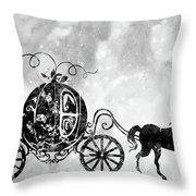 Cinderella's Carriage-black Throw Pillow