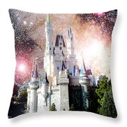 Cinderella's Castle, Fantasy Night Sky, Walt Disney World Throw Pillow