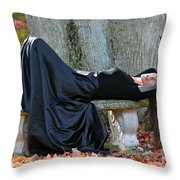 Cindy In Leaves Throw Pillow