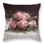 Spray Of  Roses Throw Pillow