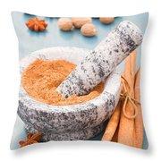 Cinnamon In Mortar Throw Pillow
