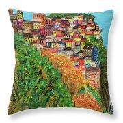 Cinque Terre, Ocean Seascape Art Throw Pillow