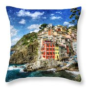 Cinque Terre - Riomaggiore From Above- Vintage Version Throw Pillow
