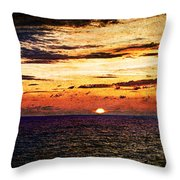 Cinque Terre - Sunset From Manarola - Panorama - Vintage Version Throw Pillow