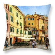 Cinque Terre - Vernazza Main Street - Vintage Version Throw Pillow