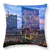 Cira Centre Skyline At Dusk Throw Pillow