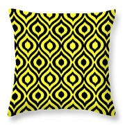 Circle And Oval Ikat In Black N05-p0100 Throw Pillow