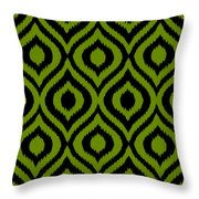 Circle And Oval Ikat In Black T03-p0100 Throw Pillow
