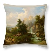 Circle Herdsmen Resting Throw Pillow