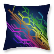 Circuit Board Throw Pillow by Setsiri Silapasuwanchai
