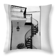 Circular Staircase In Black And White Throw Pillow