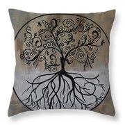 Circular Tree Of Life  Throw Pillow